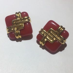Vintage red resin and gold square earrings